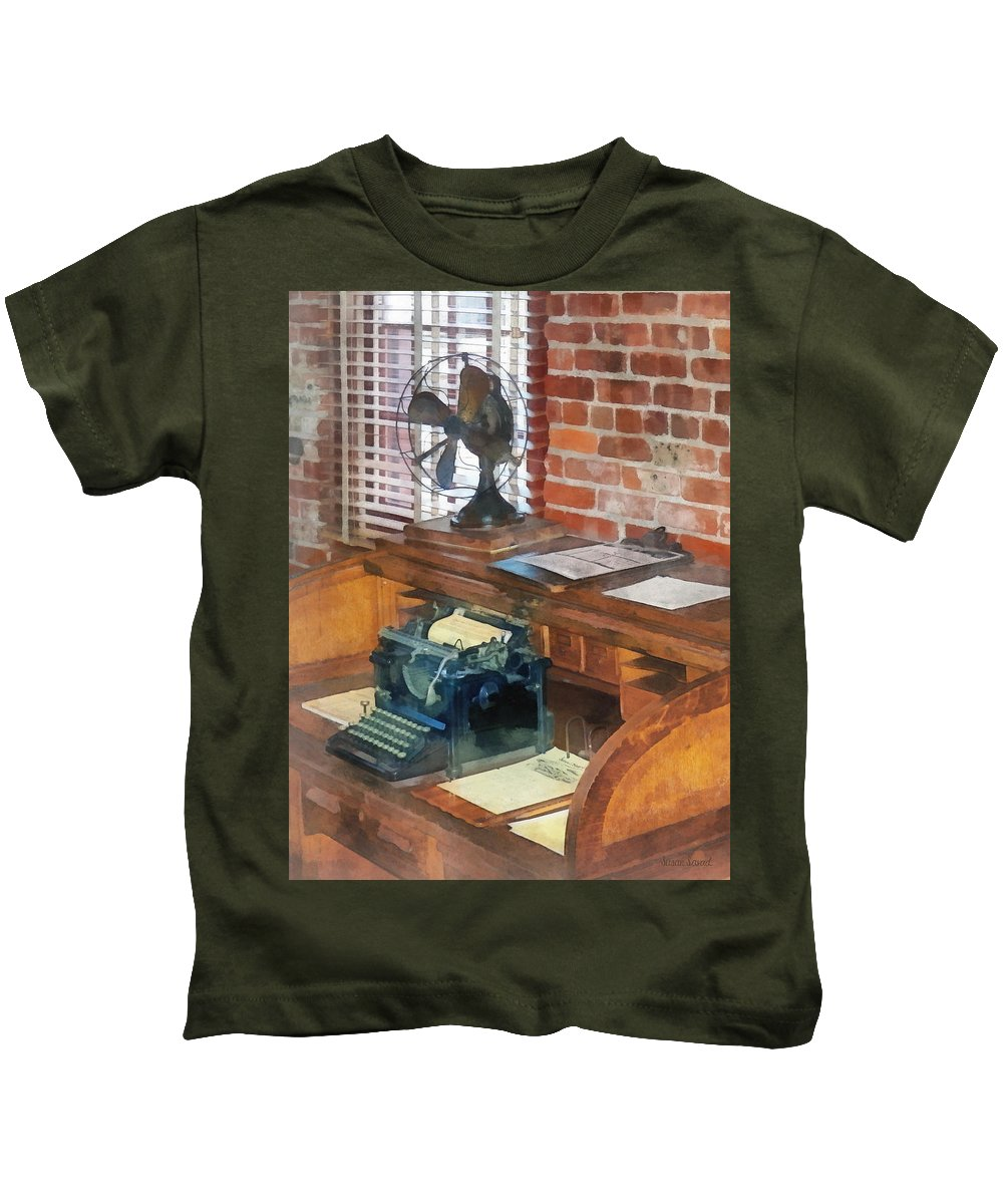 Typewriter Kids T-Shirt featuring the photograph Trains - Station Master's Office by Susan Savad