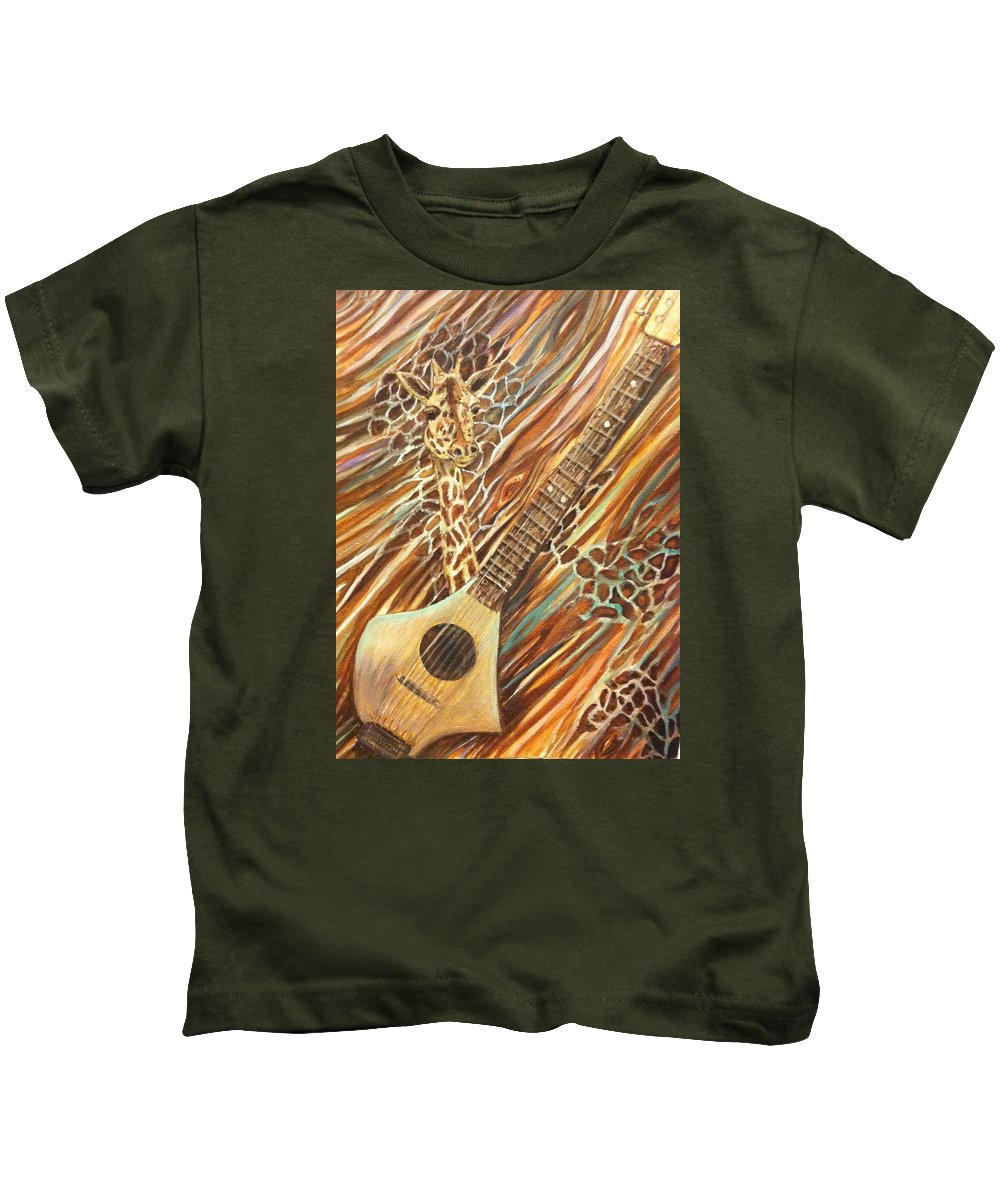 Traveling Guitar Kids T-Shirt featuring the painting Traveling Giraffe by Linda Markwardt