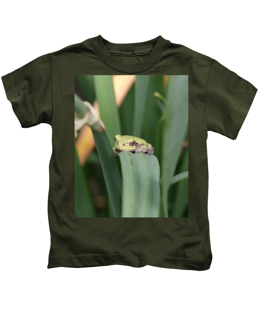 Tree Frogs Kids T-Shirt featuring the photograph Tree Frog Up Close by Holly Eads