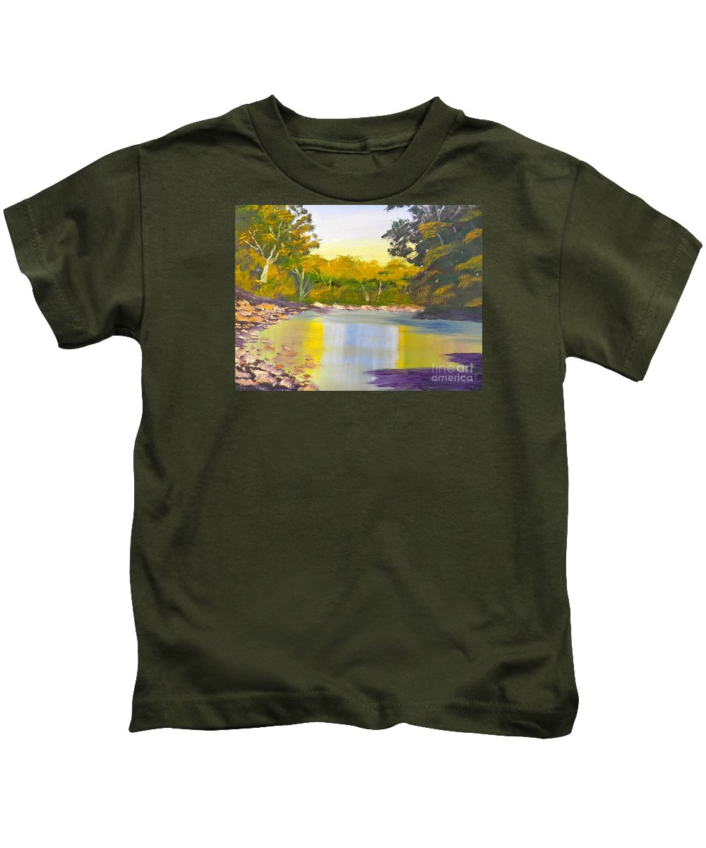 Impressionism Kids T-Shirt featuring the painting Tree Lined River by Pamela Meredith