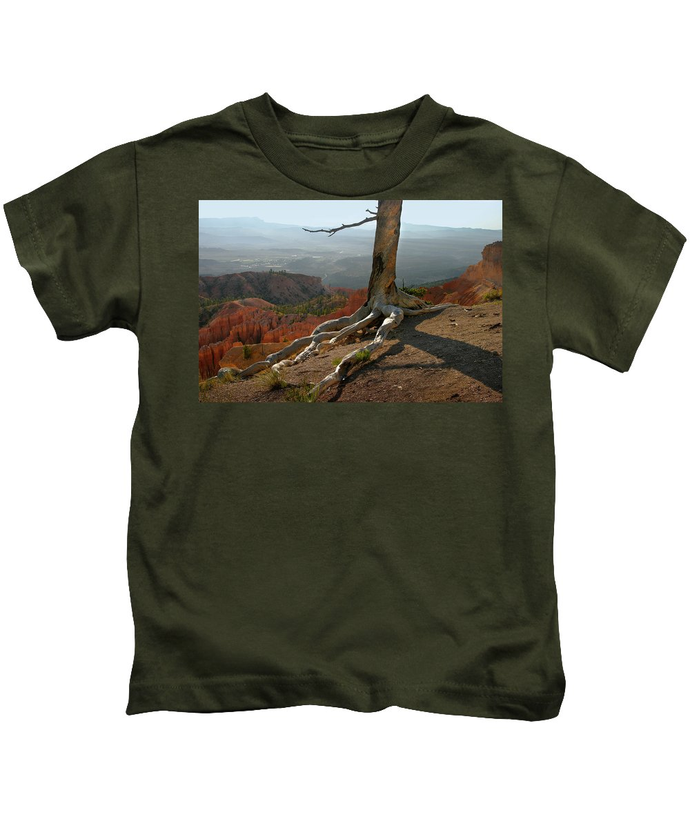 Art Kids T-Shirt featuring the photograph Tree On A Ridge In Bryce Canyon by Randall Nyhof
