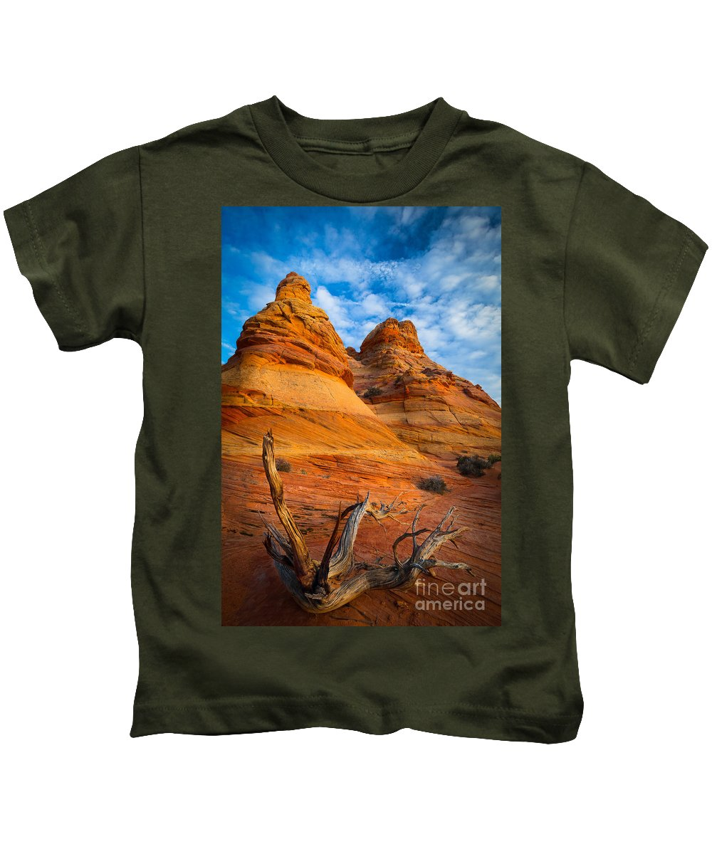 America Kids T-Shirt featuring the photograph Tree Remnants by Inge Johnsson