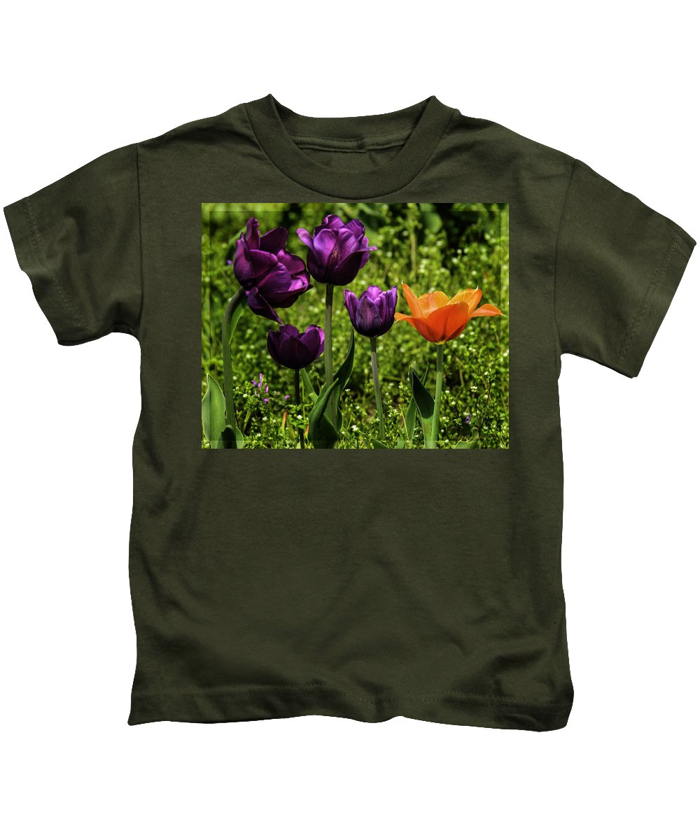 Usa Kids T-Shirt featuring the photograph Tulip Time Purple And Orange by LeeAnn McLaneGoetz McLaneGoetzStudioLLCcom