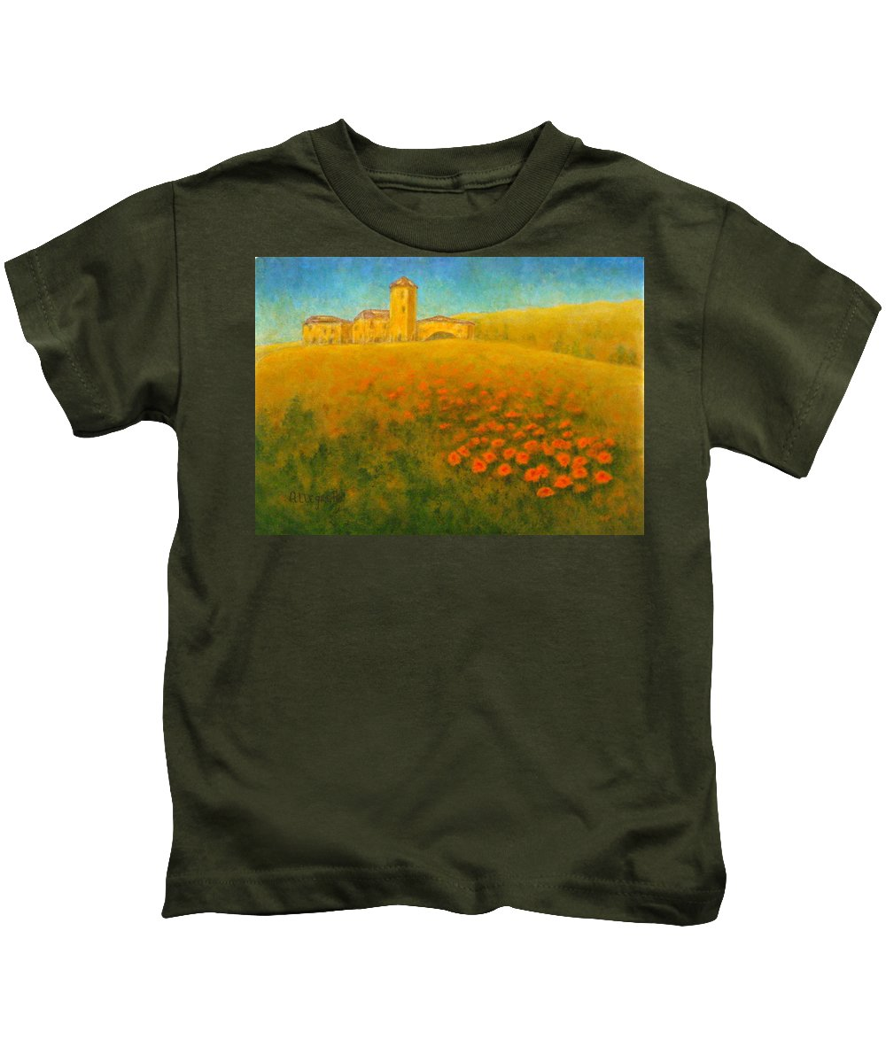 Allegretto Art Kids T-Shirt featuring the painting Tuscan Gold 1 by Pamela Allegretto