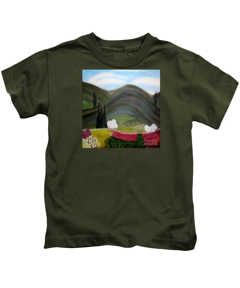Landscape Kids T-Shirt featuring the painting Tuscany Garden by Veronica V Jackson