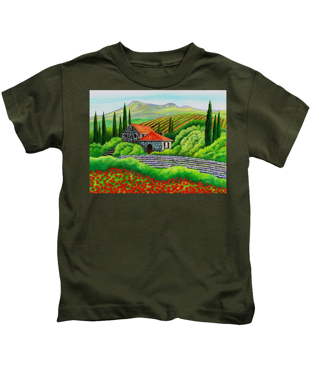 Art Licensing Kids T-Shirt featuring the painting Tuscany Poppies by Val Stokes