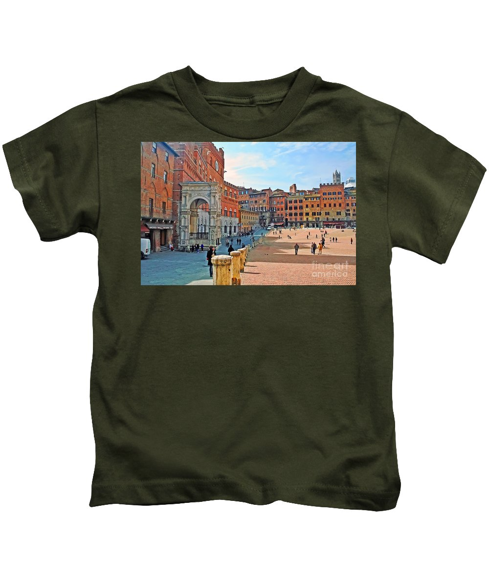 Travel Kids T-Shirt featuring the photograph Tuscany Town Center by Elvis Vaughn