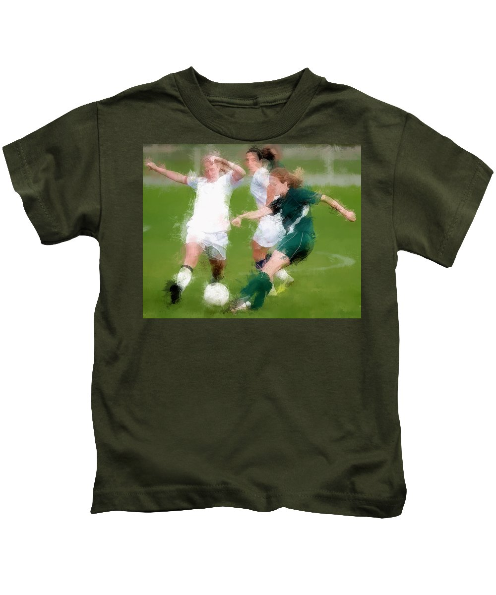 Soccer Futbol Sports Athletes Women Girls Action Soccer+ball Kids T-Shirt featuring the painting Two Against One Expressionist Soccer Battle by Elaine Plesser