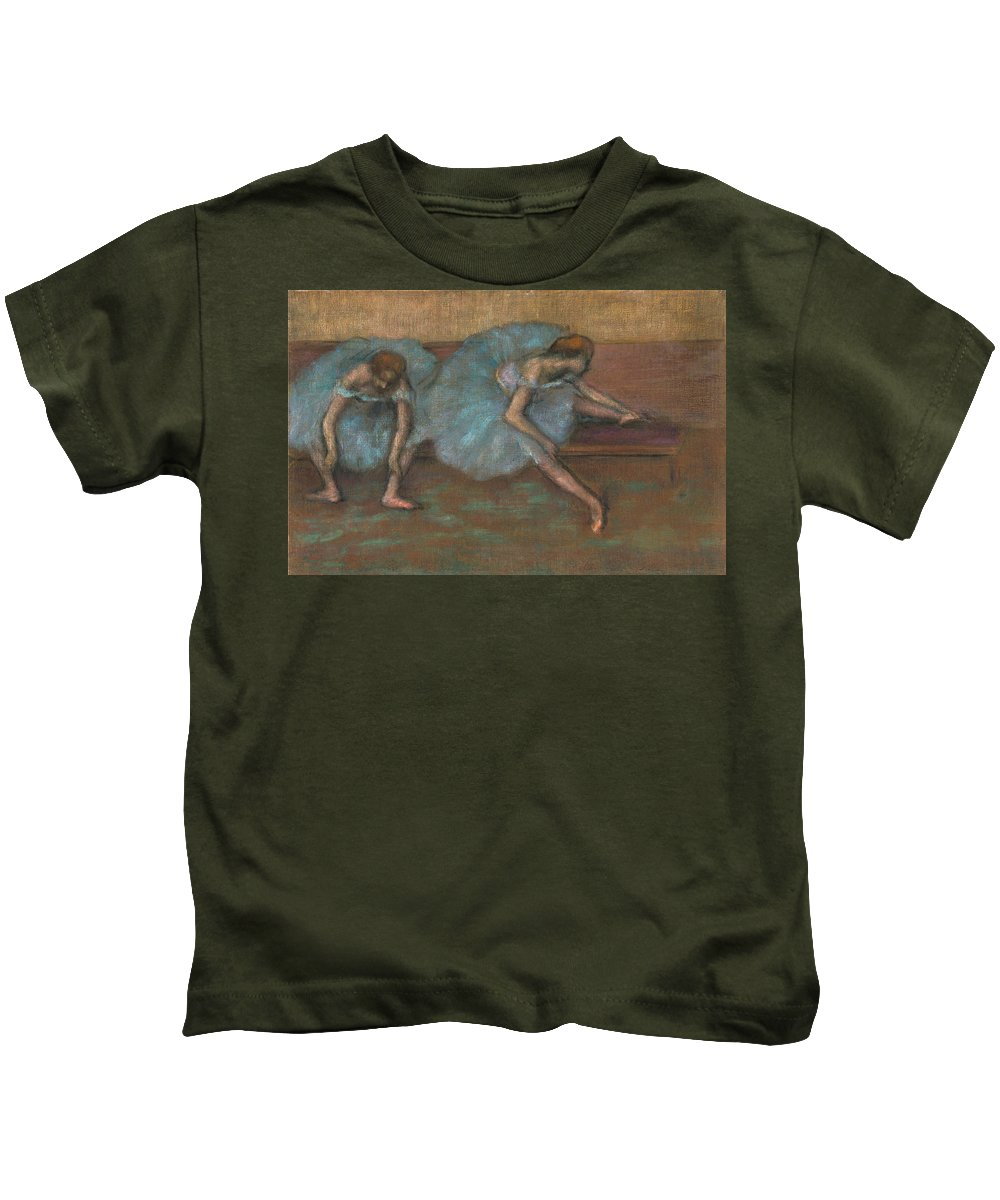 Edgar Degas Kids T-Shirt featuring the drawing Two Seated Dancers by Edgar Degas