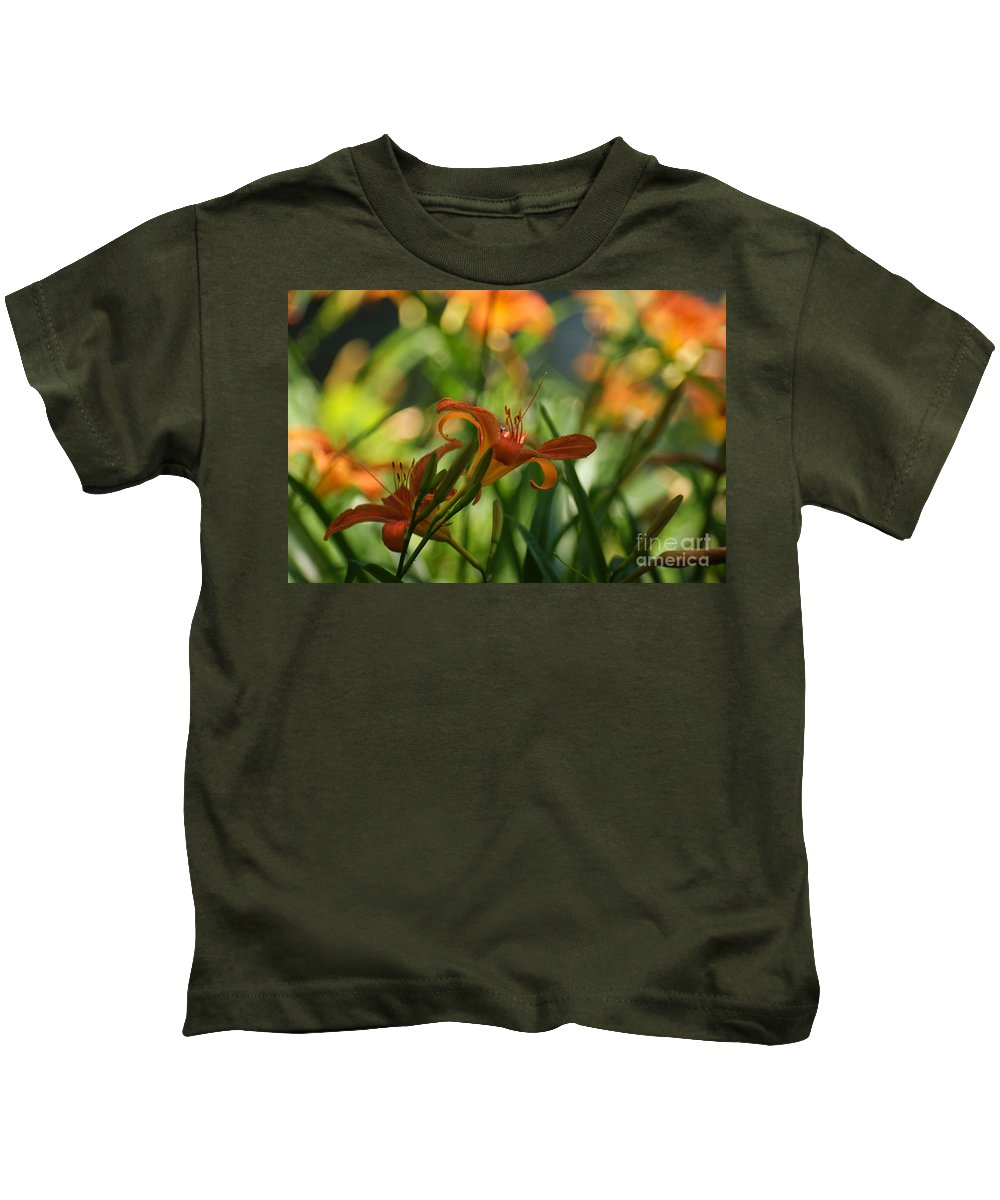 Orange Kids T-Shirt featuring the photograph Two Tiger Lillies...  # by Rob Luzier