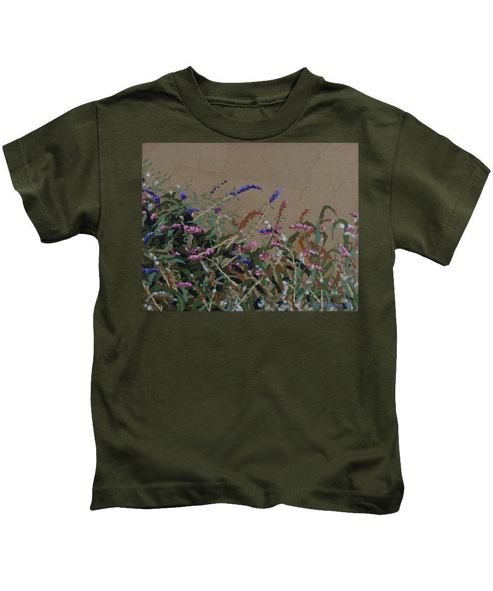 Flowering Butterfly Bush Kids T-Shirt featuring the painting Tyler by Leah Tomaino
