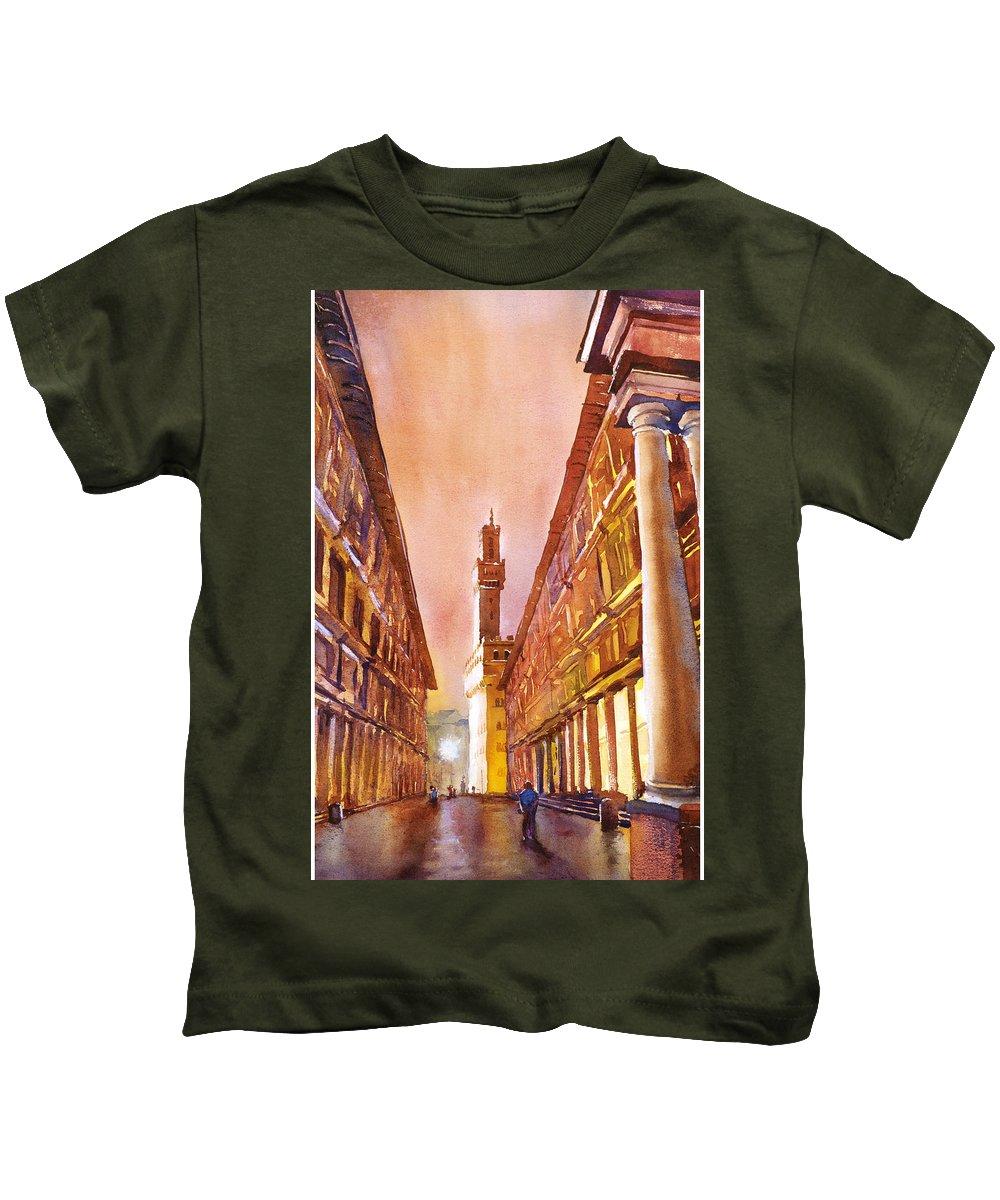 Uffizi Kids T-Shirt featuring the painting Uffizi- Florence by Ryan Fox