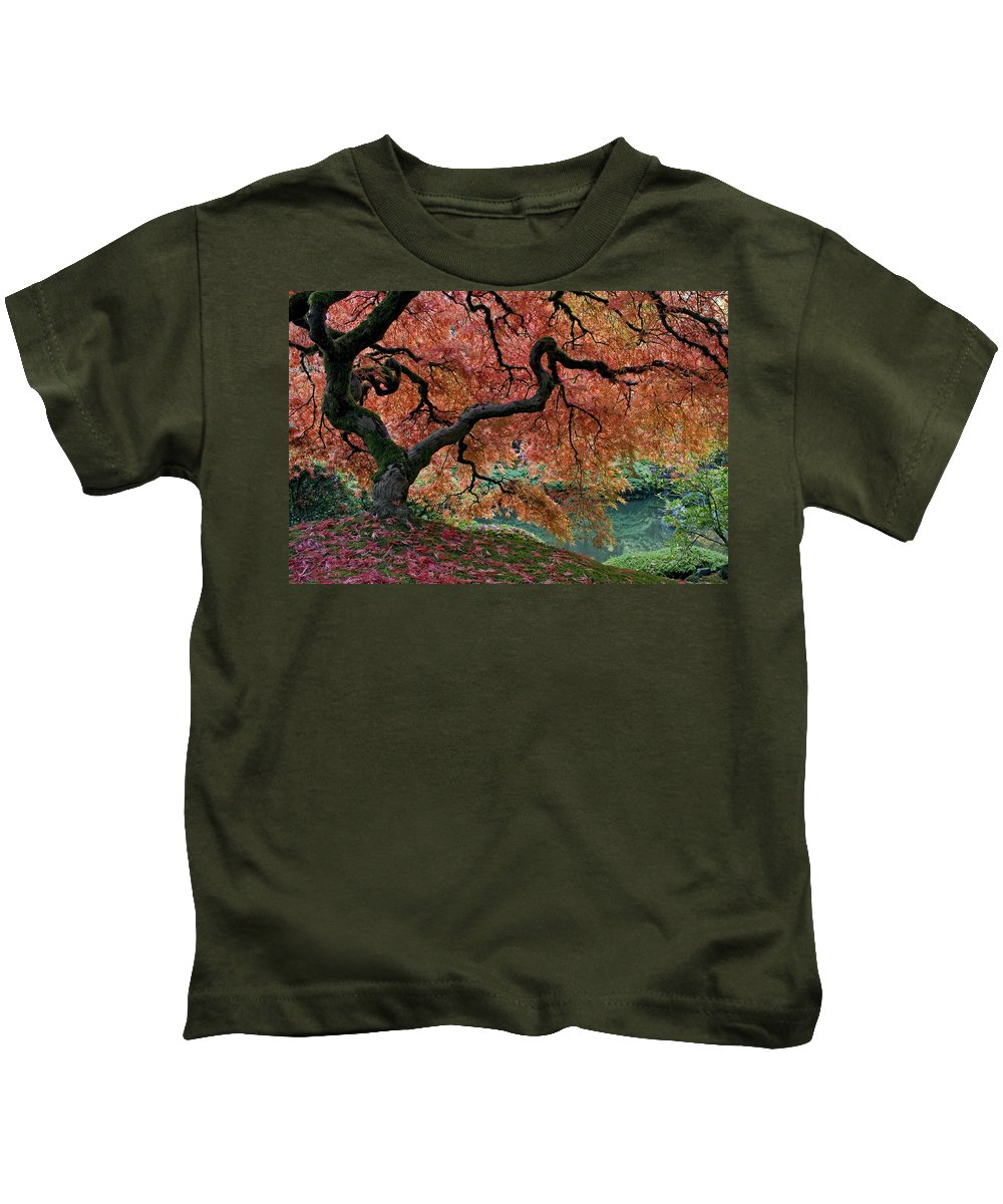 Under Fall's Cover Kids T-Shirt featuring the photograph Under Fall's Cover by Wes and Dotty Weber