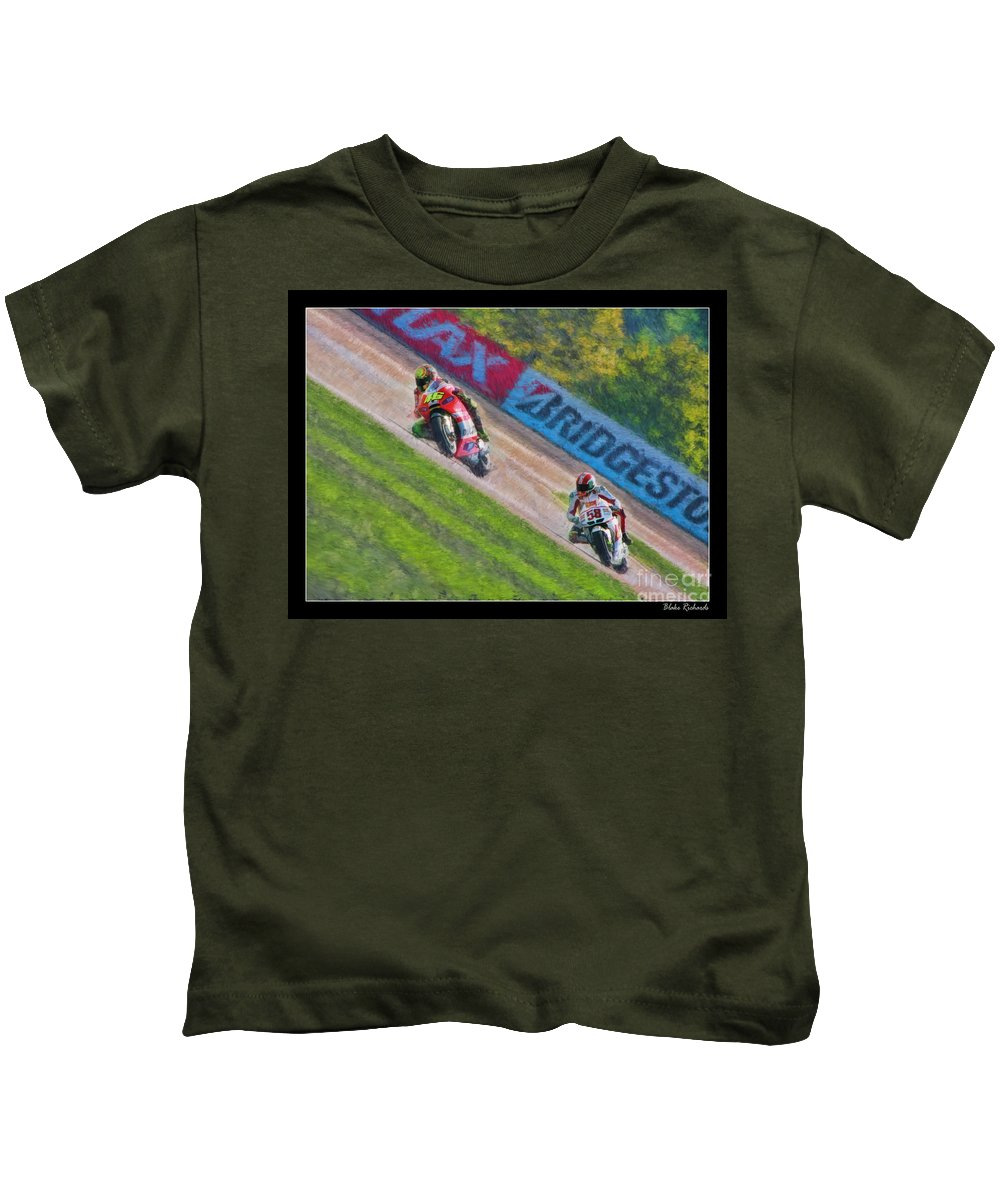 Valentino Rossi Kids T-Shirt featuring the photograph Valentino Rossi Leads Marco Simoncelli by Blake Richards