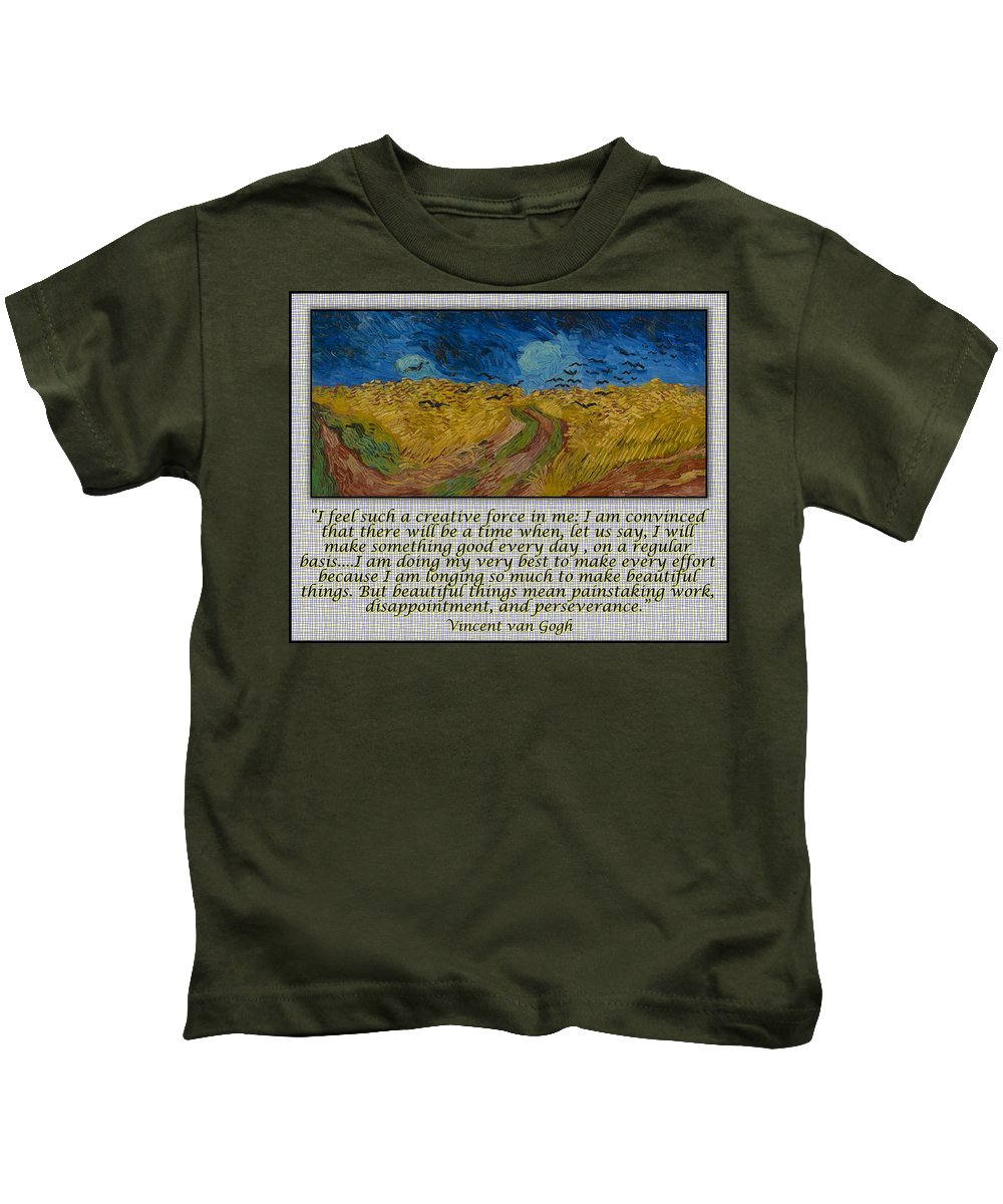 Van Gogh Kids T-Shirt featuring the drawing Van Gogh Motivational Quotes - Wheatfield With Crows II by Jose A Gonzalez Jr