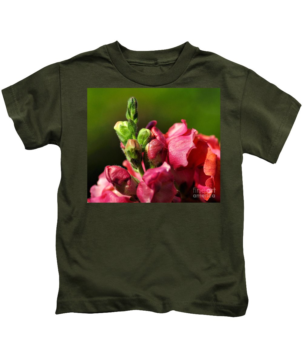 Photography Kids T-Shirt featuring the photograph Variegated Snapdragon by Kaye Menner