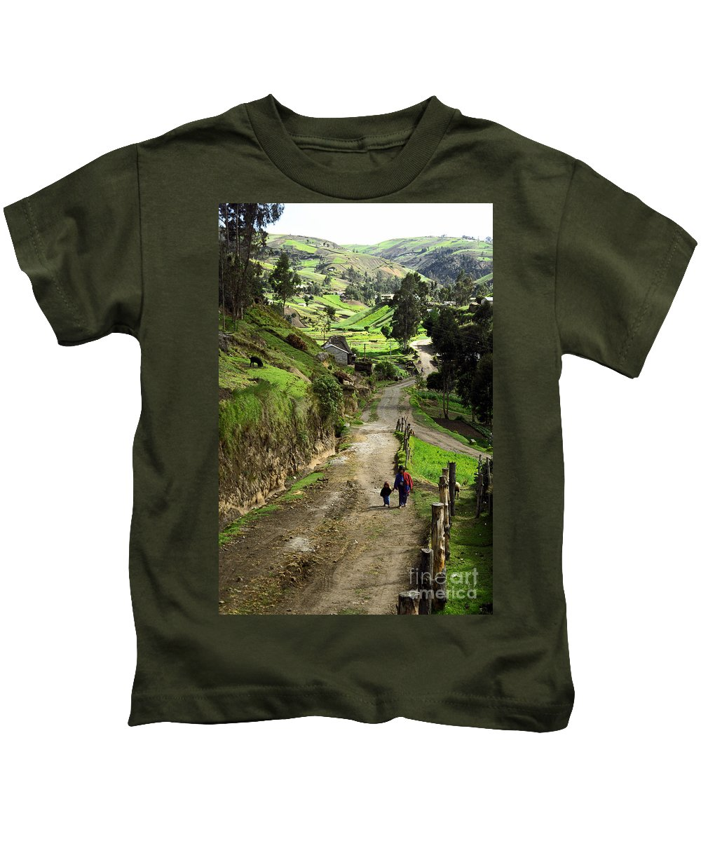 Ecuador Kids T-Shirt featuring the photograph View Of Lupaxi by Kathy McClure