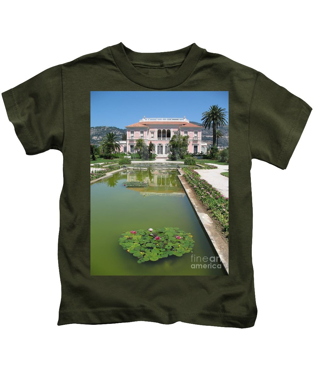 Villa Kids T-Shirt featuring the photograph Villa Ephrussi De Rothschild With Reflection by Christiane Schulze Art And Photography