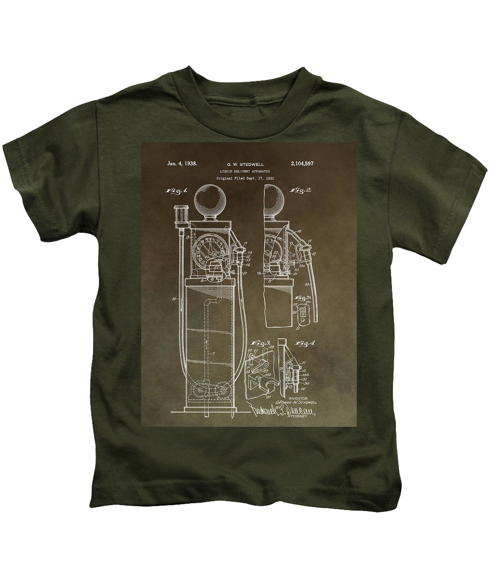 Vintage Gas Pump Patent Kids T-Shirt featuring the mixed media Vintage Gas Pump Patent by Dan Sproul