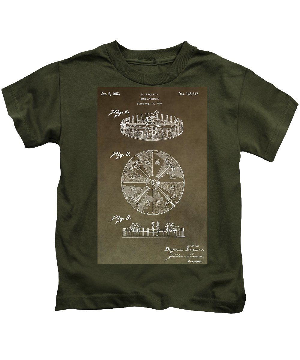 Roulette Wheel Patent Kids T-Shirt featuring the digital art Vintage Roulette Wheel Patent by Dan Sproul
