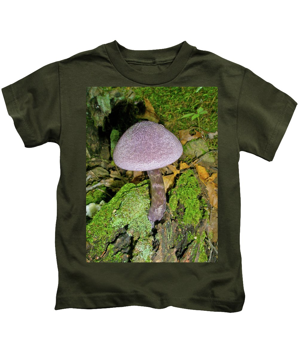 Mushroom Kids T-Shirt featuring the photograph Violet Cortinarious -cortinarious Violaceus Mushroom On Mossy Log by Mother Nature