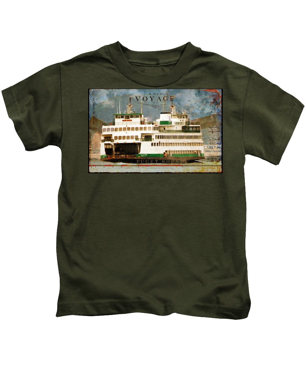 Sandy Lloyd Kids T-Shirt featuring the mixed media Voyage To Puget Sound by Sandy Lloyd