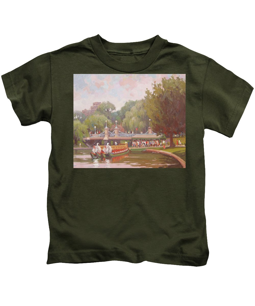 Swan Boats Kids T-Shirt featuring the painting Waiting For A Ride by Dianne Panarelli Miller