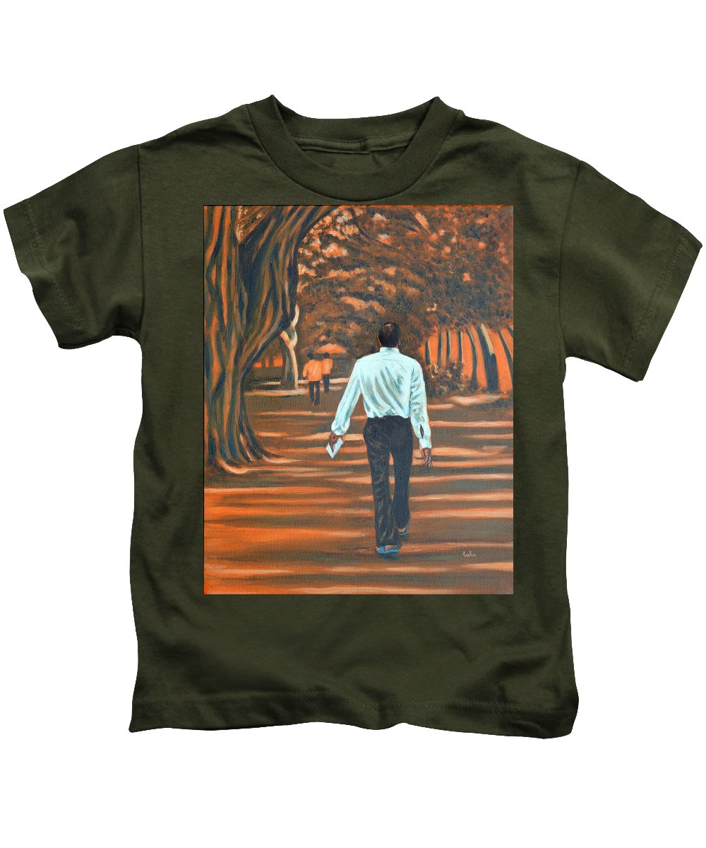 Usha Kids T-Shirt featuring the painting Walk In The Woods by Usha Shantharam