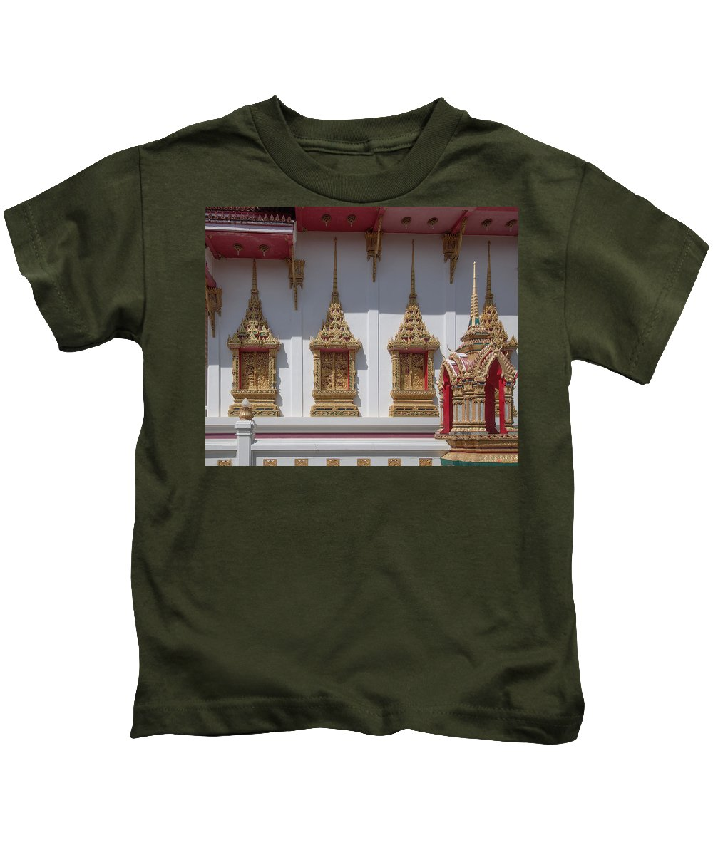 Scenic Kids T-Shirt featuring the photograph Wat Suwan Khiri Khet Ubosot Windows Dthp273 by Gerry Gantt