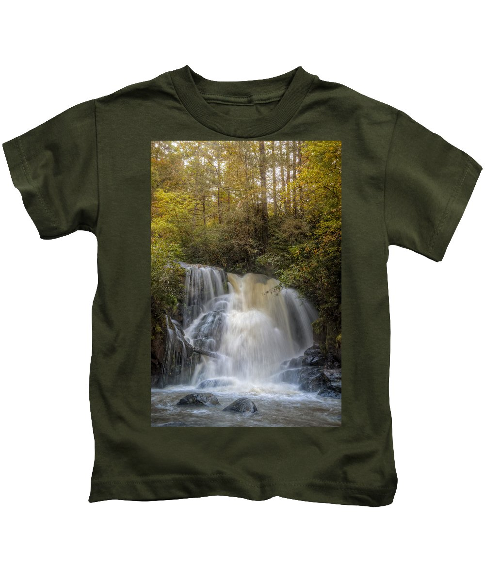 Appalachia Kids T-Shirt featuring the photograph Waterfall After The Rain by Debra and Dave Vanderlaan