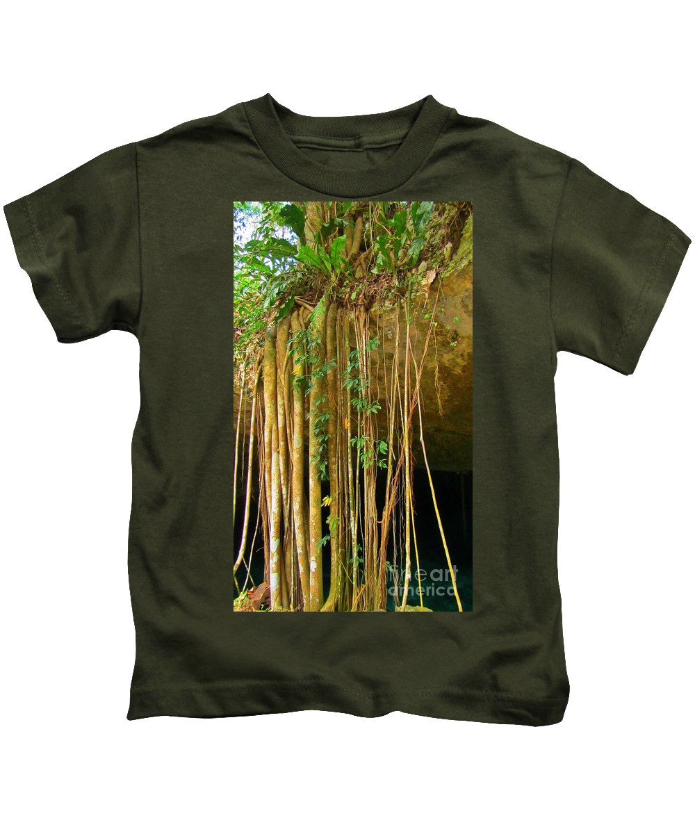 Waterfall Of Jungle Tree Roots Kids T-Shirt featuring the photograph Waterfall Of Jungle Tree Roots by John Malone