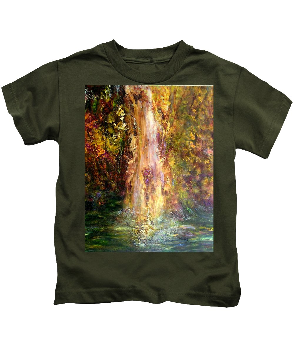 Landscape Kids T-Shirt featuring the painting Waterfall by Sylva Zalmanson