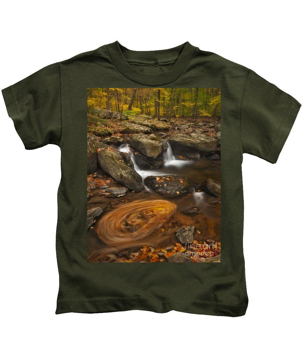 Autumn Kids T-Shirt featuring the photograph Waterfalls And Swirl by Susan Candelario