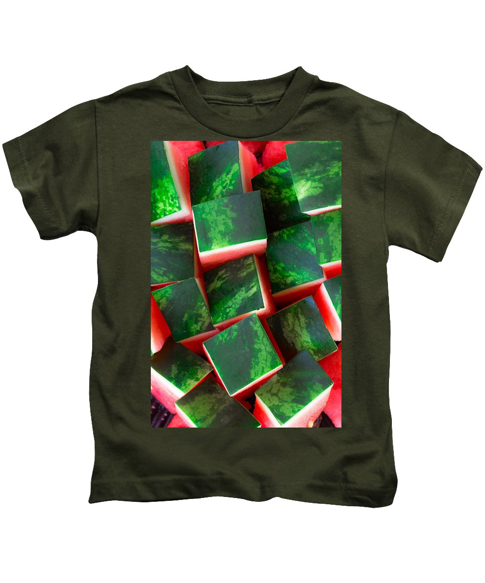 Red Kids T-Shirt featuring the photograph Watermelon by Edgar Laureano