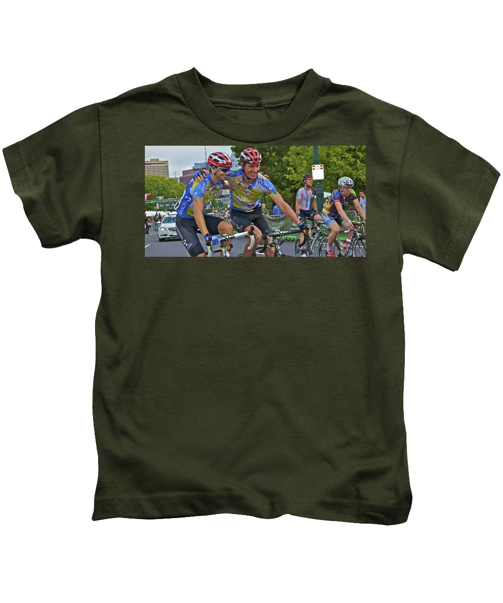 Philadelphia Biking Td Bank Race International Championship 2012 Winners Embracing Kids T-Shirt featuring the photograph We Are The Winners by Alice Gipson