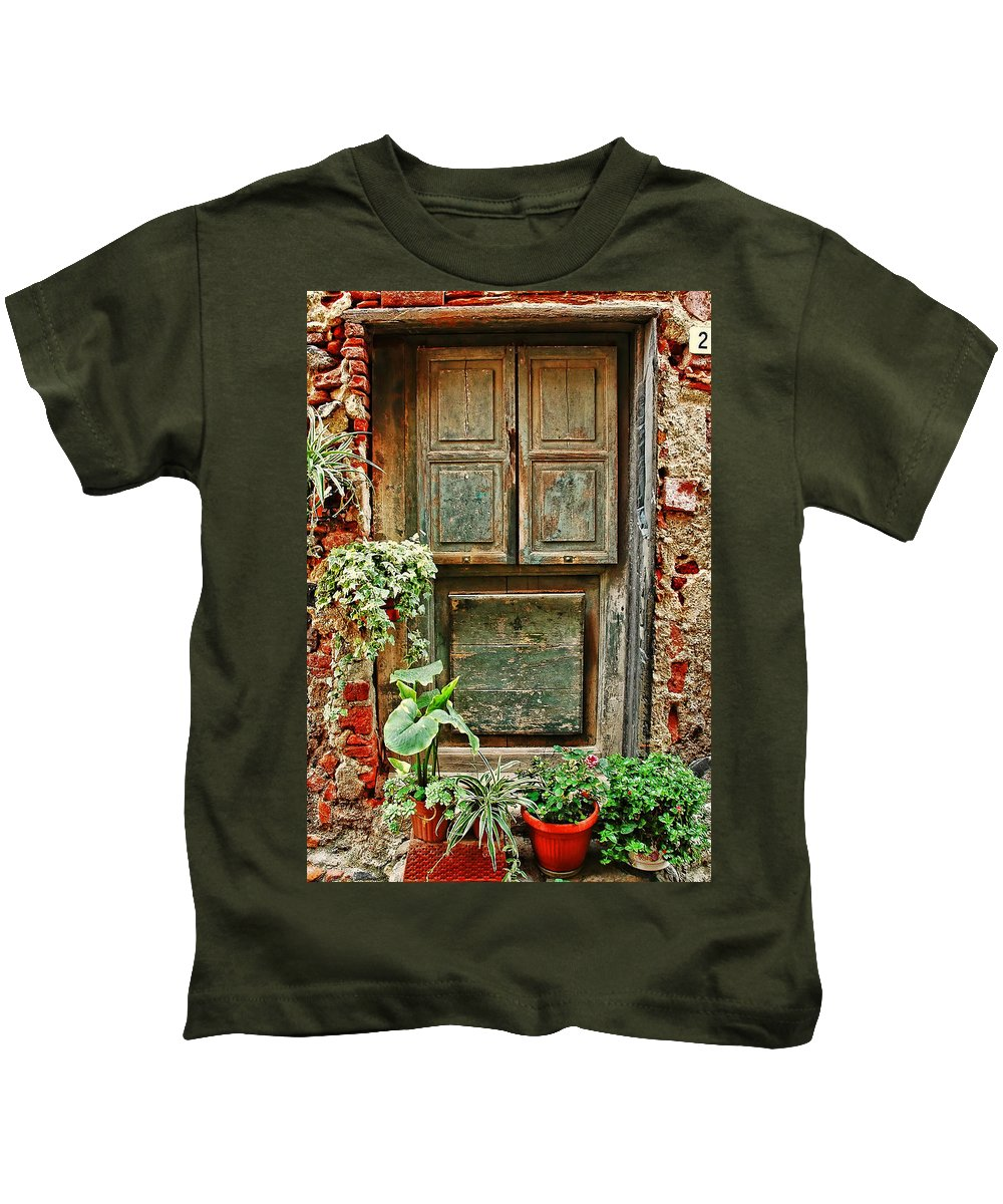Italian Kids T-Shirt featuring the photograph Weathered Door by Allen Beatty