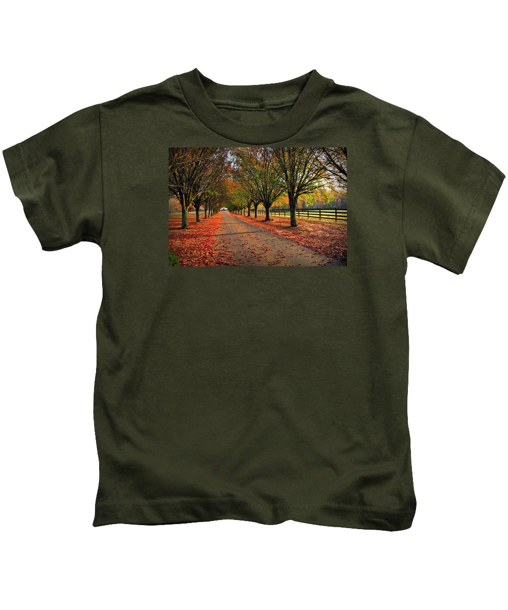 Reid Callaway Welcome Home Kids T-Shirt featuring the photograph Welcome Home Bradford Pear Lined Drive-way by Reid Callaway