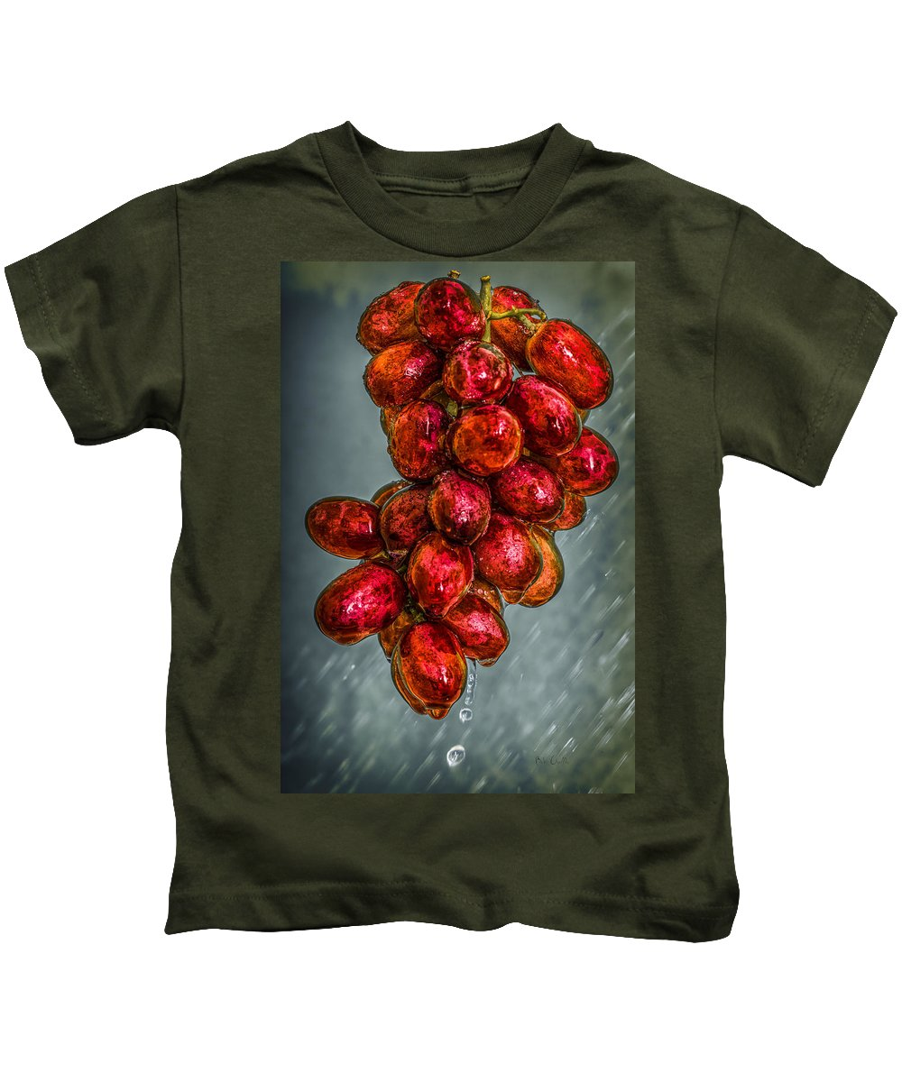 Rain Kids T-Shirt featuring the photograph Wet Grapes Four by Bob Orsillo