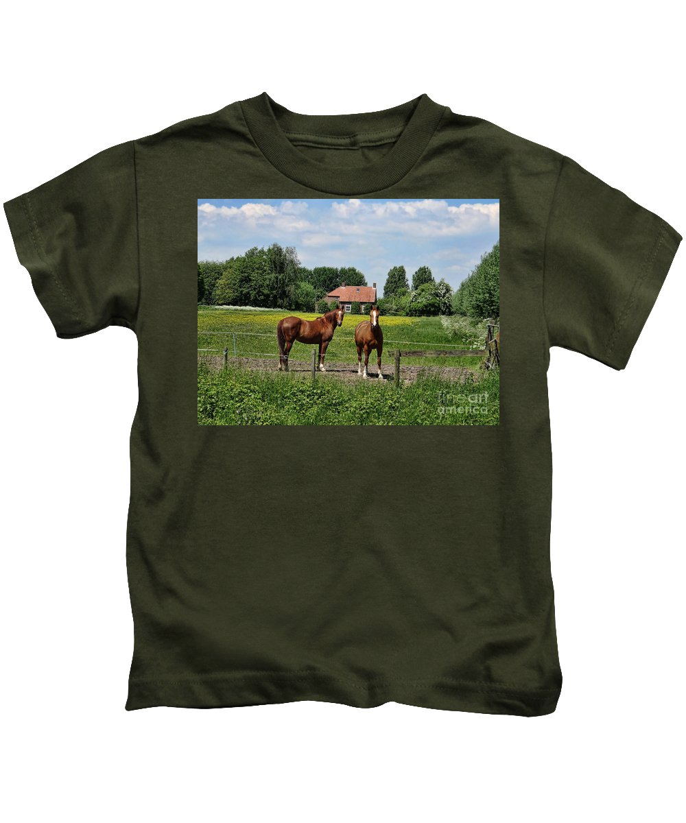 Farm Kids T-Shirt featuring the photograph What Are You Staring At?				 by Peter Awax