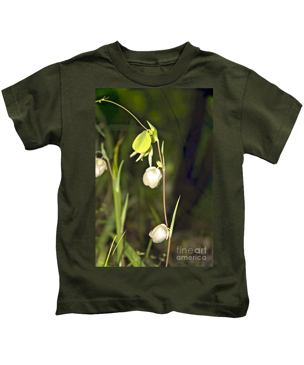Wildflowers; Globes; Nature; Green; White Kids T-Shirt featuring the photograph Whispers by Kathy McClure