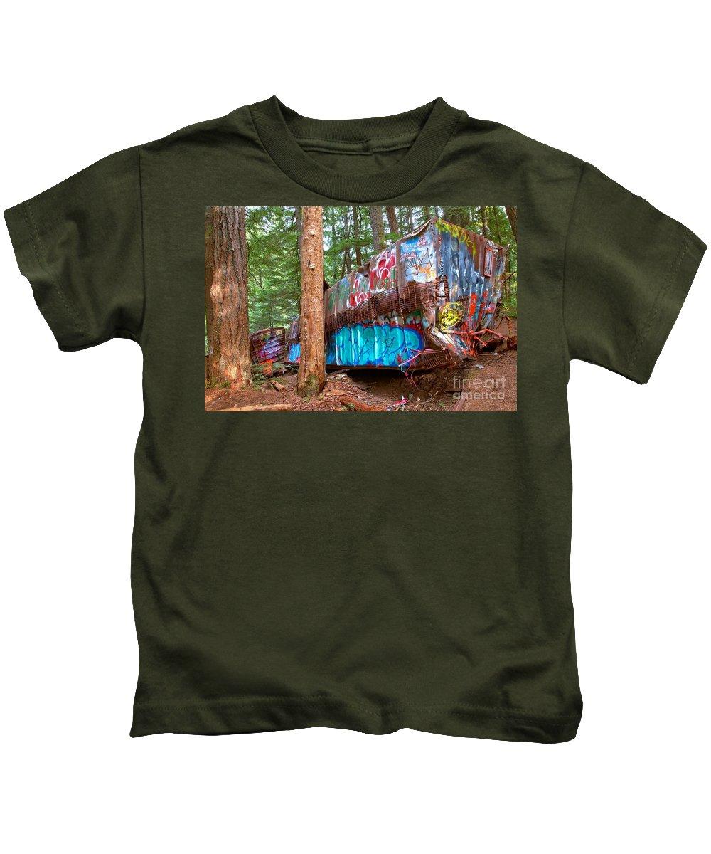 Train Wreck Kids T-Shirt featuring the photograph Whistler Train Wreck Box Car Graffiti by Adam Jewell
