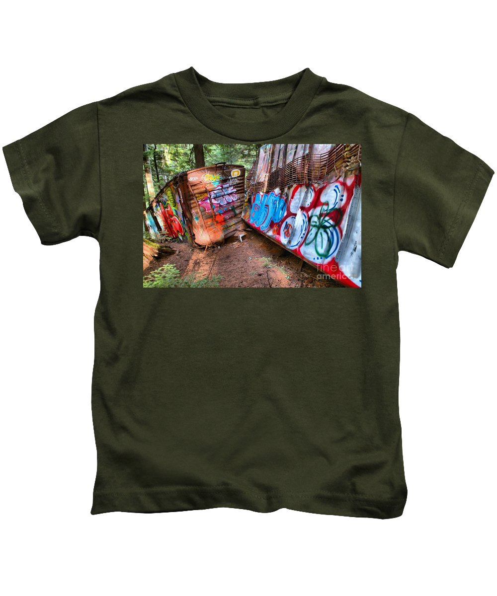 Train Wreck Kids T-Shirt featuring the photograph Whistler Train Wreck Covered In Graffiti by Adam Jewell