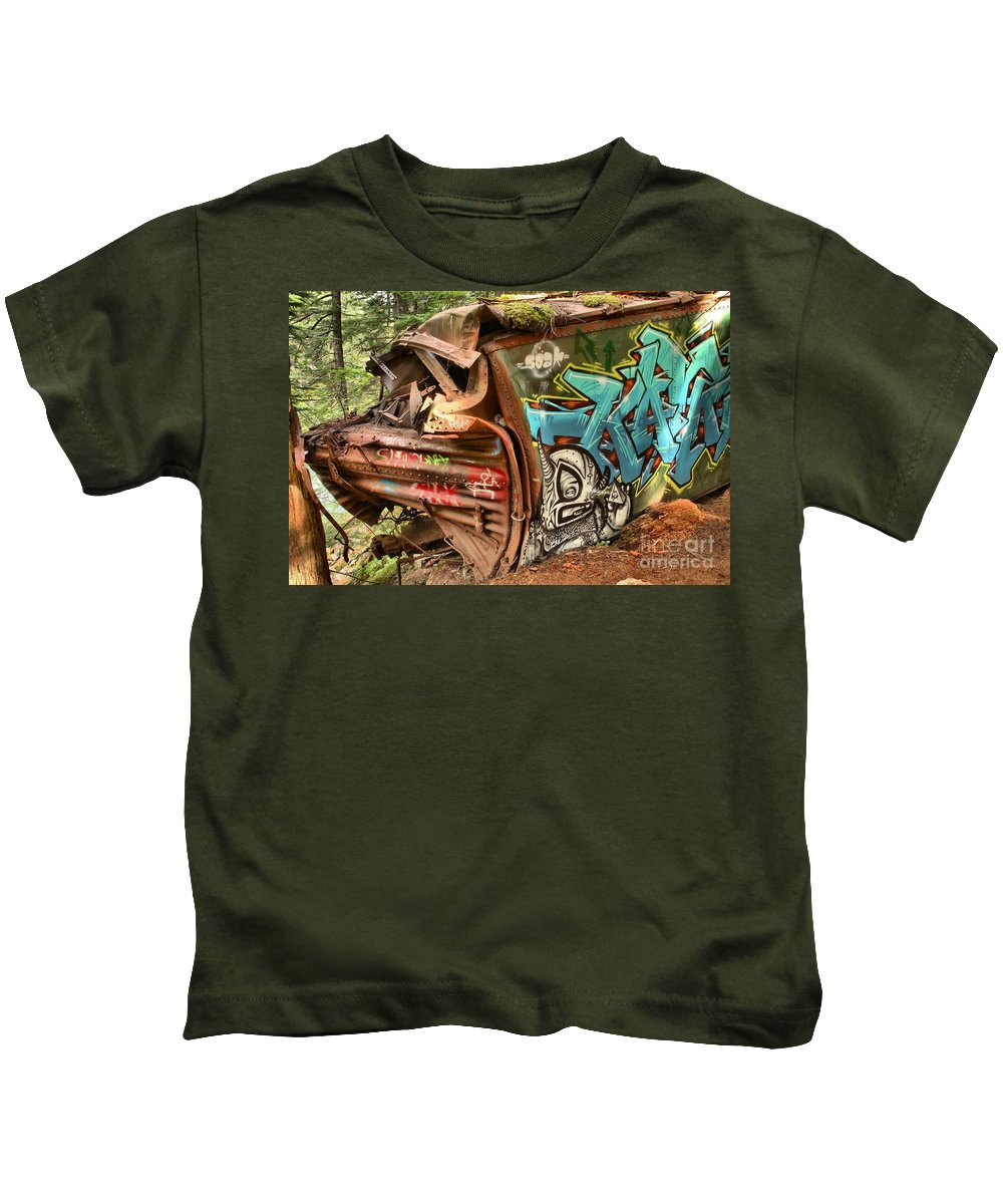 Train Wreck Kids T-Shirt featuring the photograph Whistler Train Wreck Stopping Point by Adam Jewell