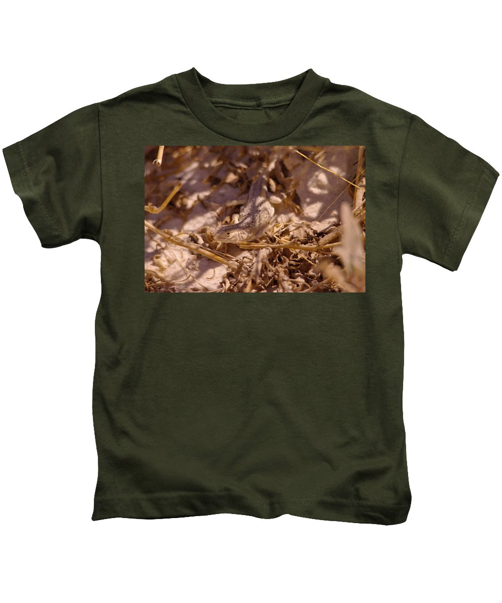 Lizards Kids T-Shirt featuring the photograph White Sands Lizard by Jeff Swan