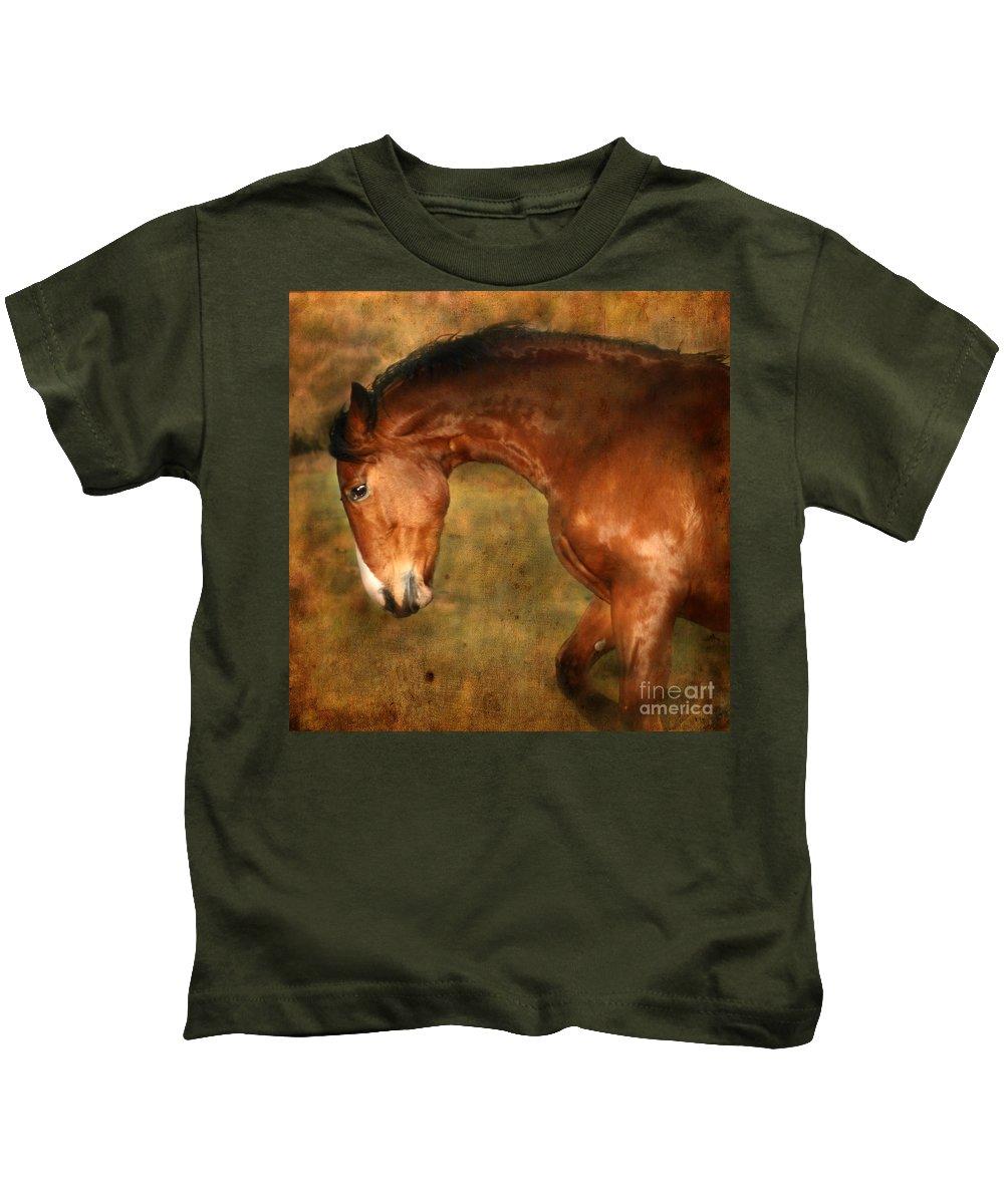 Horse Kids T-Shirt featuring the photograph Wild by Angel Ciesniarska