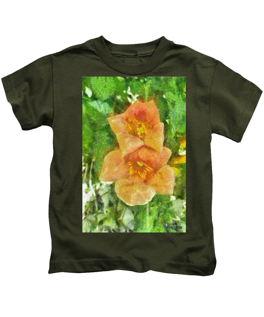 Bloom Kids T-Shirt featuring the painting Wild Flowers by Jeffrey Kolker