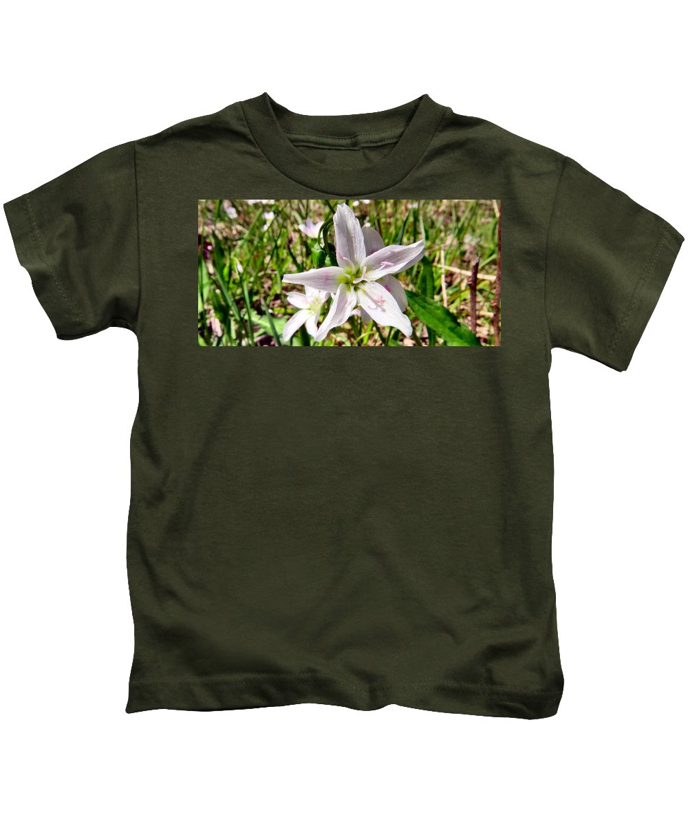 Pink Kids T-Shirt featuring the photograph Wild Flowers by Art Dingo