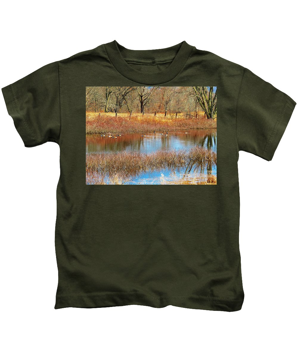 Canadian Geese Kids T-Shirt featuring the photograph Wild Geese On The Farm by MTBobbins Photography