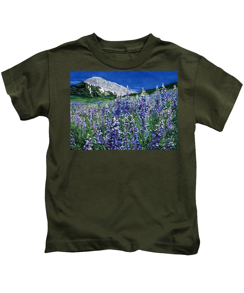 Summer Landscape Kids T-Shirt featuring the painting Wild Lupine by Barbara Jewell