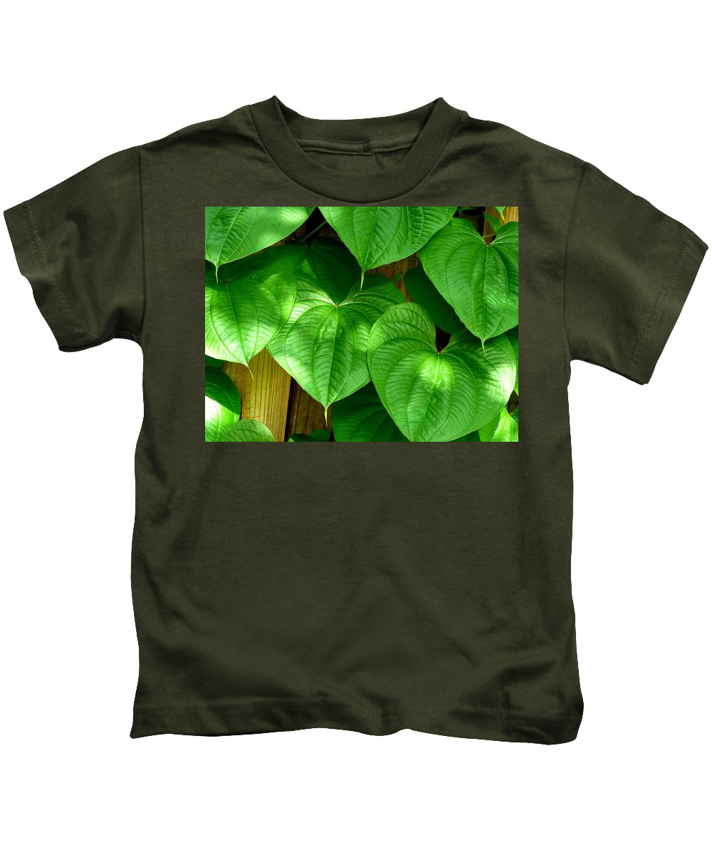 Leaf Kids T-Shirt featuring the photograph Wild Potato Vine by David Weeks